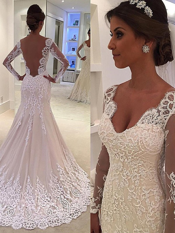 Court Train White Long Sleeves V-neck Wedding Dresses with Lace