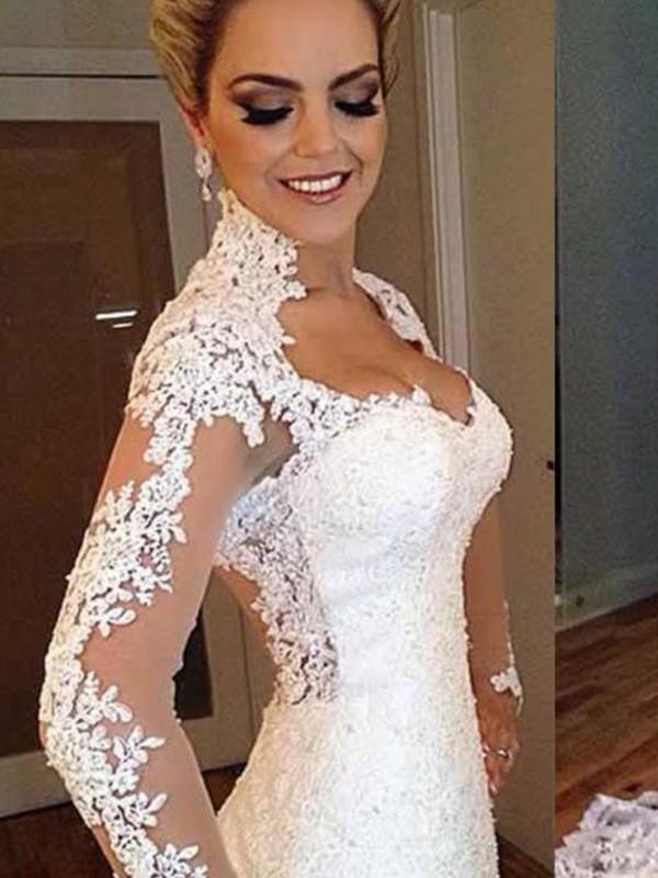 White Mermaid V-neck Brush Train Wedding Dresses with Applique