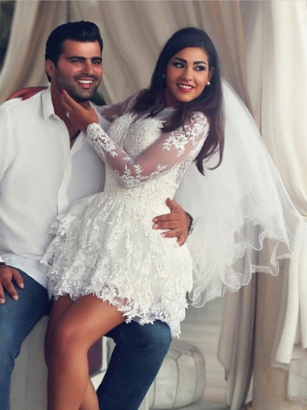 A-Line Lace Long Sleeves Scoop Short/Mini Ivory Wedding Dresses