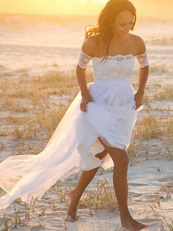 Off-the-Shoulder Floor-Length White Wedding Dresses with Lace