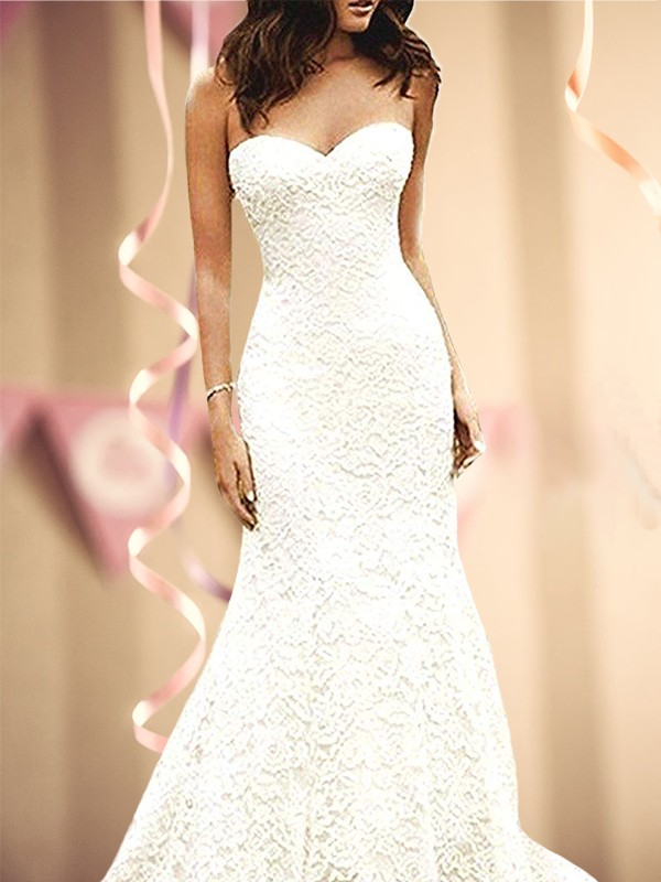 Mermaid Sweetheart White lace Wedding Dresses
