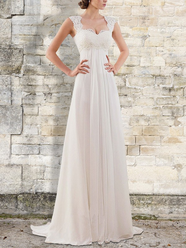 Empire Bateau Sleeveless Ivory Chiffon Wedding Dresses