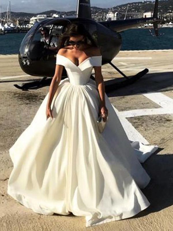 Off-the-Shoulder Court Train White Satin Wedding Dresses