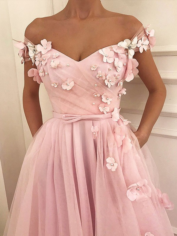 A-Line Off-the-Shoulder Long Pink Tulle Prom Dresses