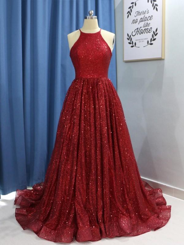 A-Line Jewel Brush Train Ruffles Burgundy Sequins Prom Dresses