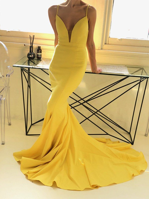 Mermaid Brush Train Ruffles Daffodil Satin Prom Dresses