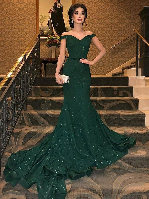 Mermaid Sleeveless Brush Train Dark Green Sequins Prom Dresses