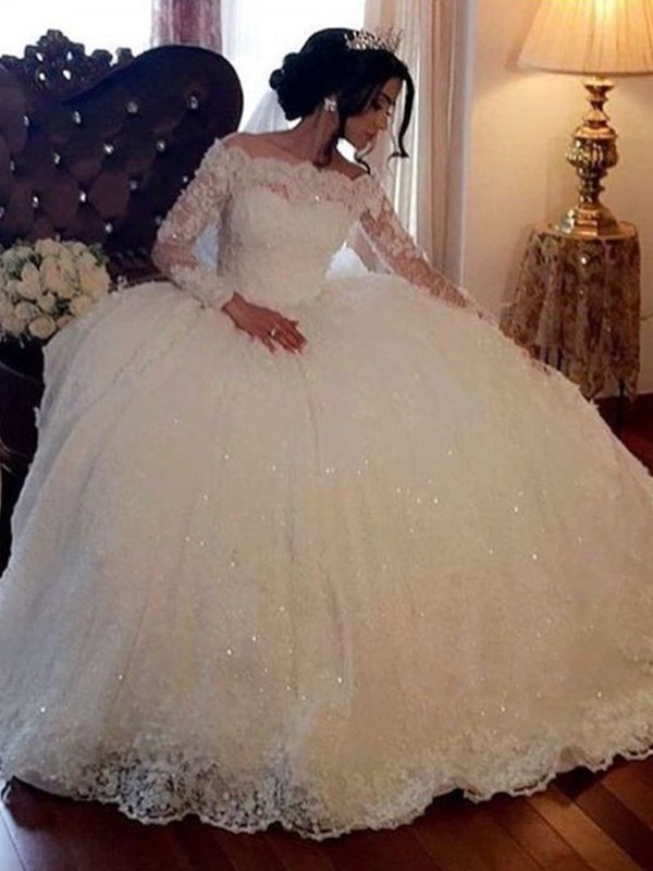 Ball Gown Bateau Floor-Length Lace Tulle Wedding Dresses