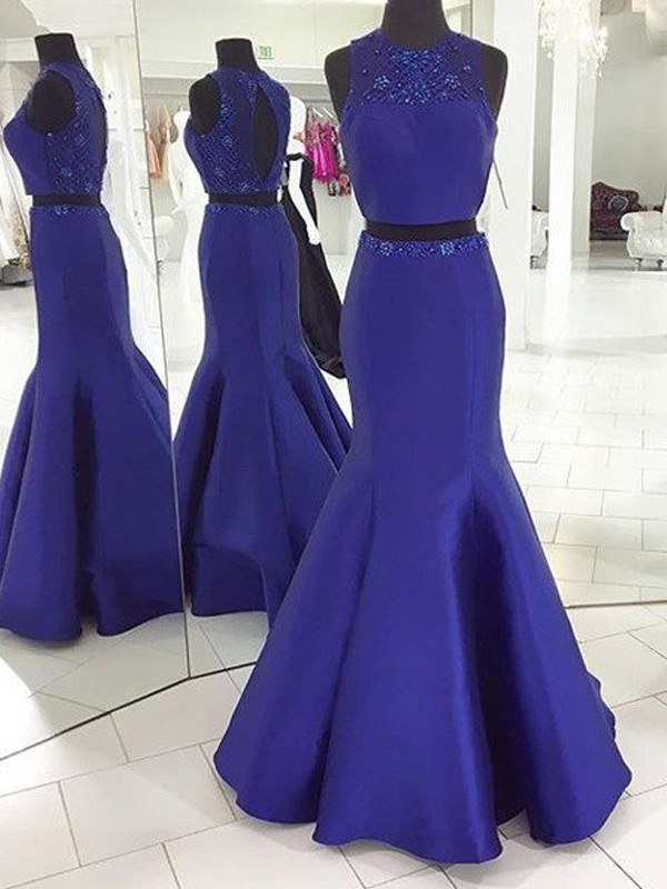 Satin Scoop Floor-Length Royal Blue Prom Dresses