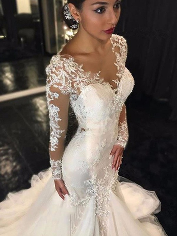 Mermaid Long Sleeves V-neck Court Train Ivory Wedding Dresses