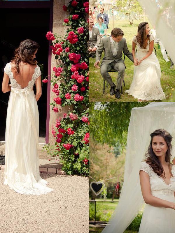 Tulle V-neck Brush Train Ivory Wedding Dresses