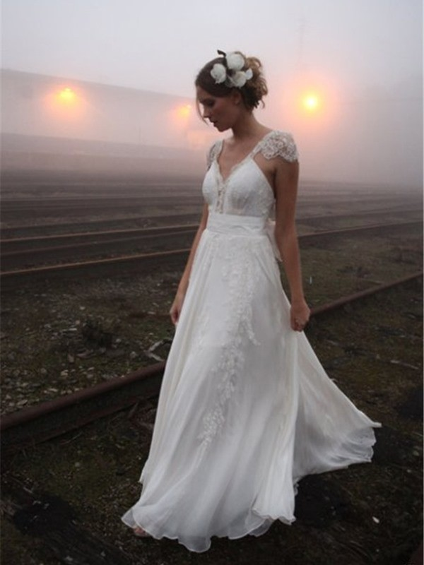 V-neck Floor-Length White Wedding Dresses with Lace
