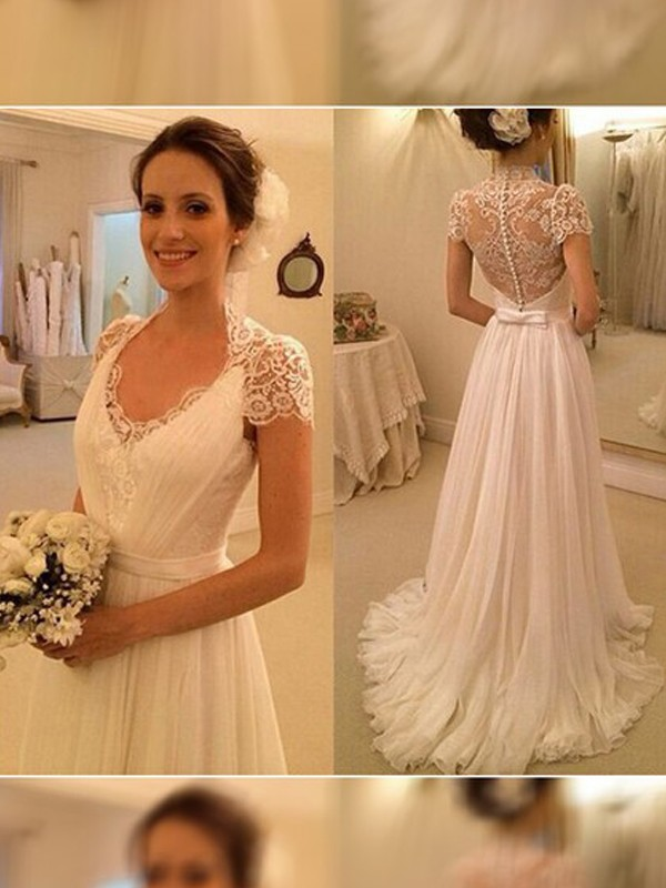 A-Line V-neck Brush Train White Wedding Dresses