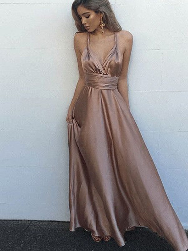 Silk like Satin A-Line Floor-Length Spaghetti Straps Brown Prom Dresses