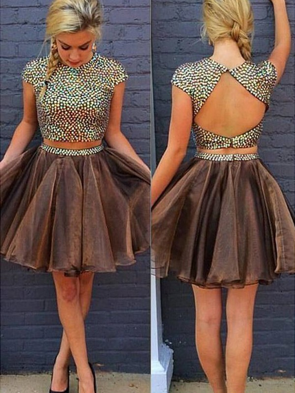 Organza Scoop Short/Mini Brown Homecoming Dresses