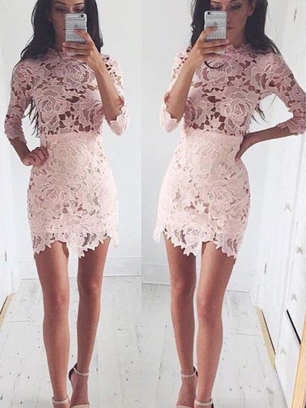 Lace A-Line Short Half Sleeves Scoop Pink Homecoming Dresses