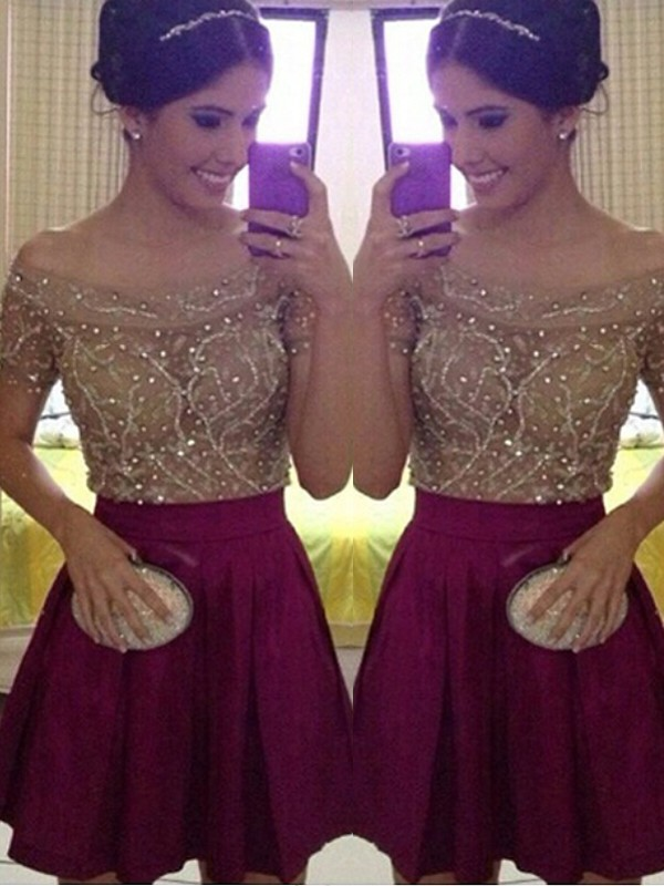 Burgundy A-Line Off-the-Shoulder Short Homecoming Dresses with Beading