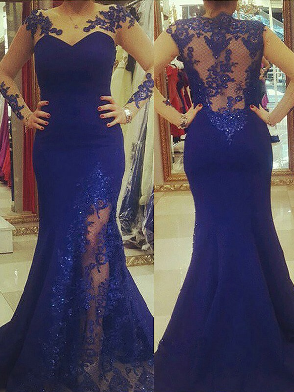 Royal Blue Scoop Silk like Satin Brush Train Prom Dresses