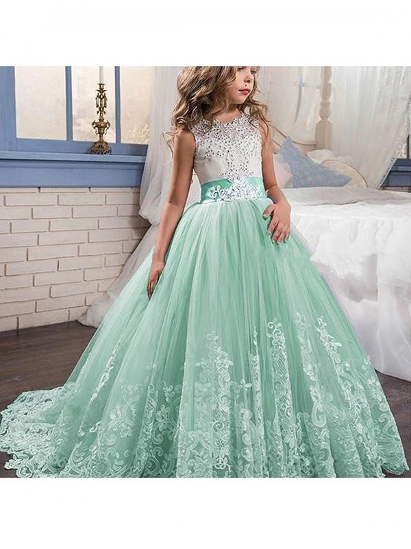 Ball Gown Jewel Brush Train Green Flower Girl Dresses