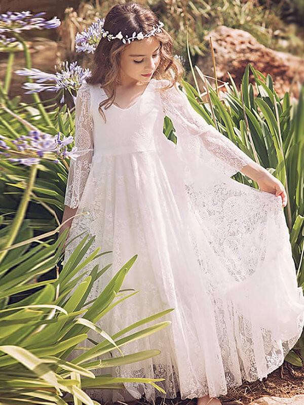 Long Sleeves V-neck Floor-Length White Flower Girl Dresses
