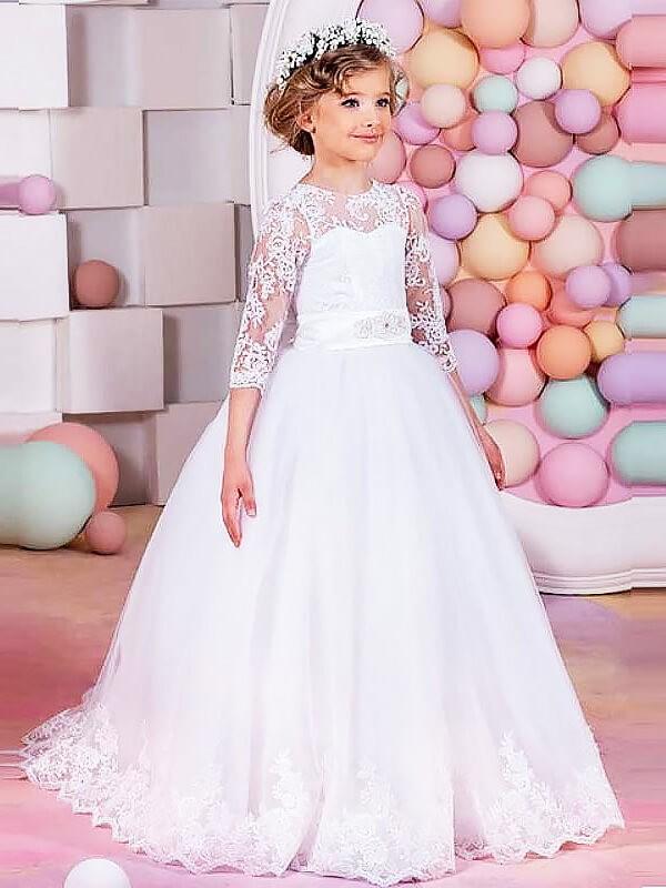 Tulle Jewel Brush Train White Flower Girl Dresses