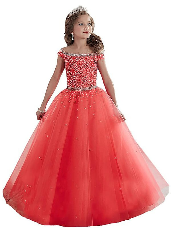 Off-the-Shoulder Floor-Length Watermelon Flower Girl Dresses