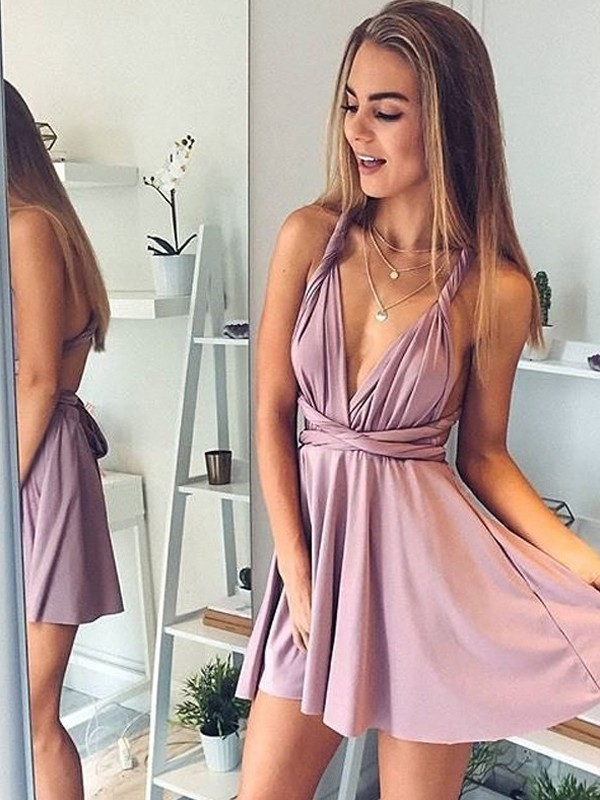 Pink A-Line V-neck Short/Mini Prom Dresses