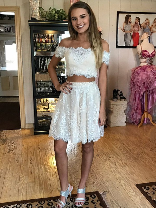 White Off-the-Shoulder Lace Short/Mini Prom Dresses