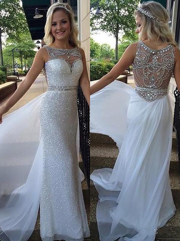 A-Line Chiffon Bateau Brush Train White Prom Dresses