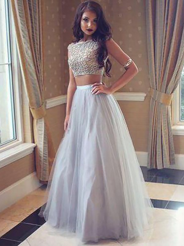 Floor-Length Silver Bateau Prom Dresses with Beading