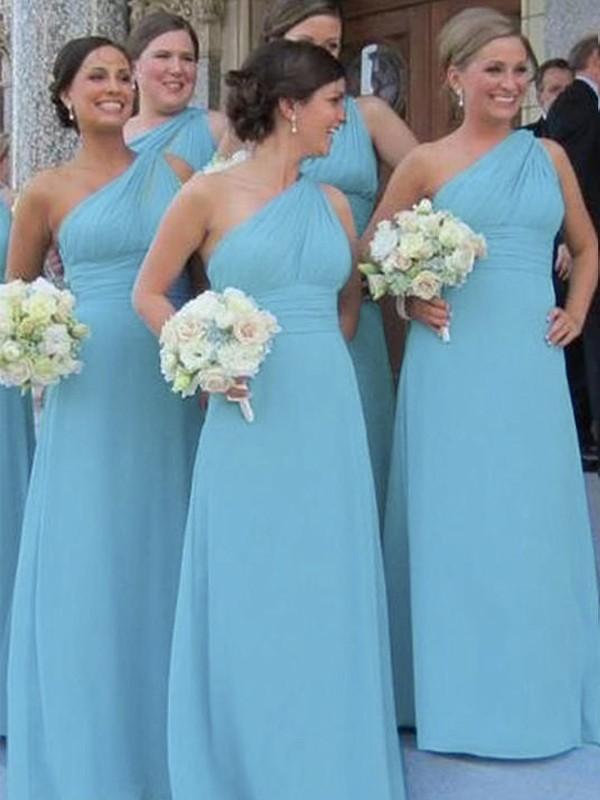 Sheath One-Shoulder Floor-Length Blue Bridesmaid Dresses