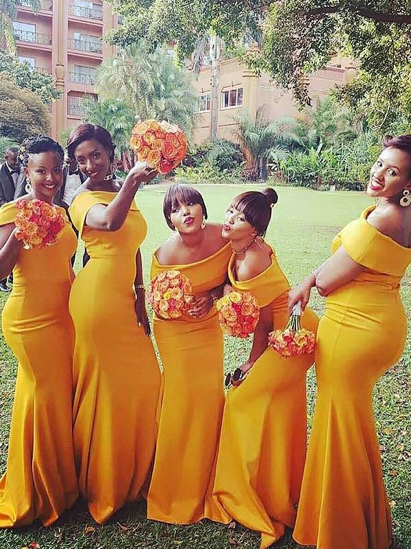 Mermaid Off-the-Shoulder Brush Train Yellow Bridesmaid Dresses