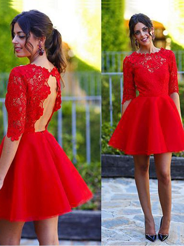 Lace Scoop Short/Mini Red Homecoming Dresses