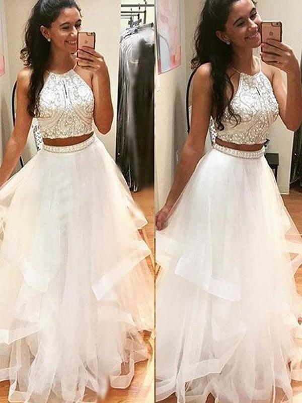 A-Line Halter Floor-Length White Prom Dresses