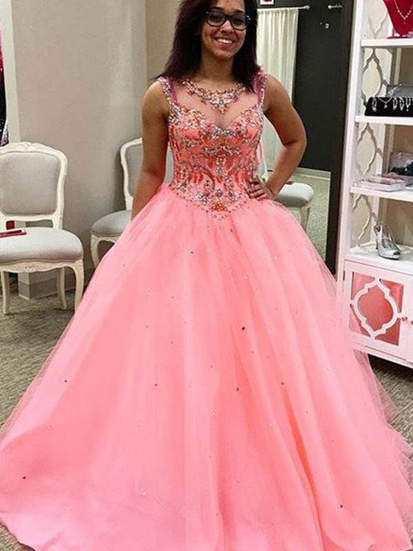 Ball Gown Sweetheart Floor-Length Watermelon Prom Dresses