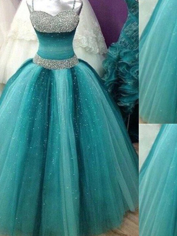 Tulle Spaghetti Straps Floor-Length Blue Prom Dresses