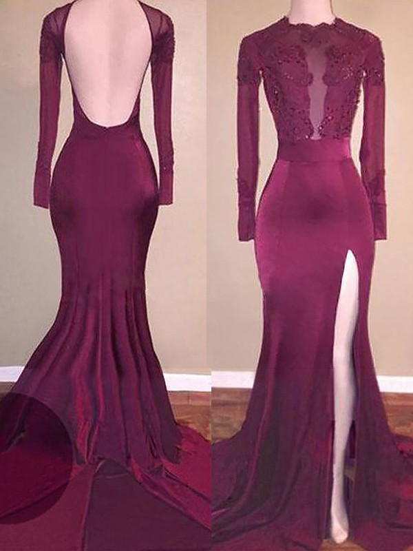 Satin Scoop Brush Train Burgundy Prom Dresses