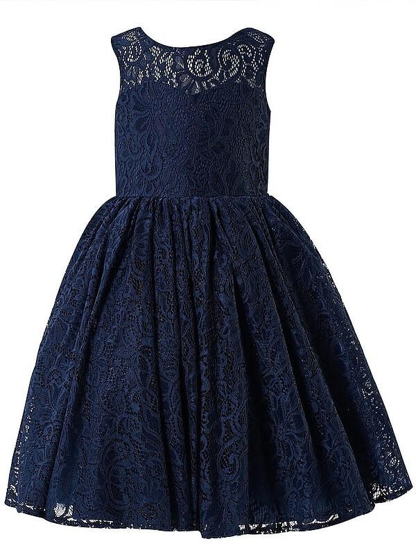 A-Line Scoop Tea-Length Dark Navy Flower Girl Dresses