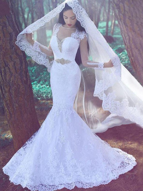 Ivory Sweetheart Lace Court Train Wedding Dresses