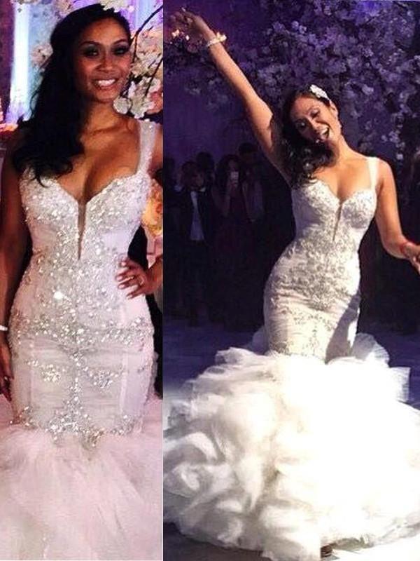Straps Brush Train Ivory Wedding Dresses