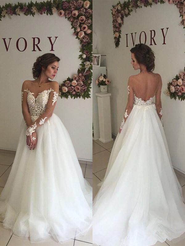 A-Line Off-the-Shoulder Brush Train Ivory Wedding Dresses