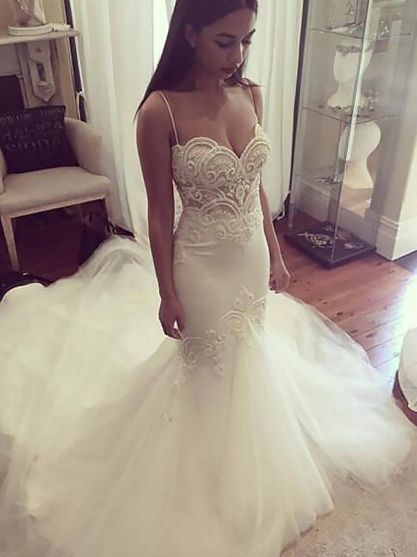 Mermaid Tulle Spaghetti Straps Chapel Train Wedding Dresses