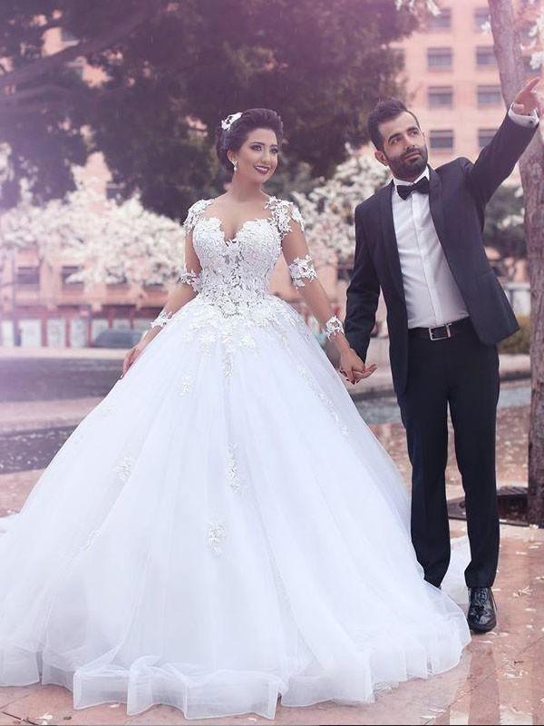 TulleCourt Train Long Sleeves Sweetheart Ivory Wedding Dresses