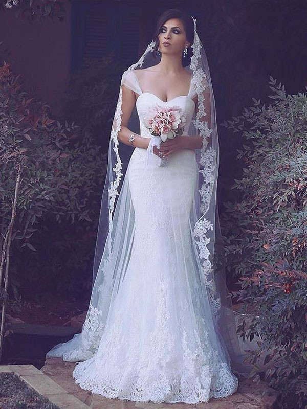 Tulle Straps Brush Train Ivory Wedding Dresses