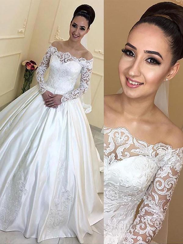 Satin Off-the-Shoulder Court Train Ivory Wedding Dresses