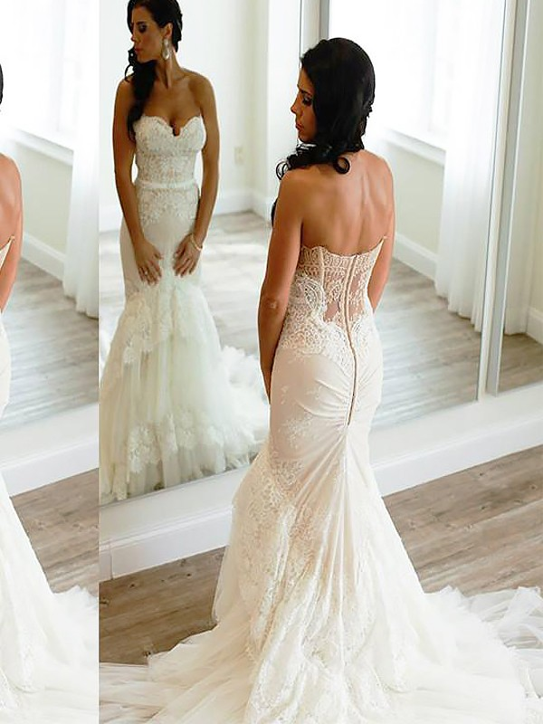 Mermaid Tulle Sweetheart Court Train Wedding Dresses
