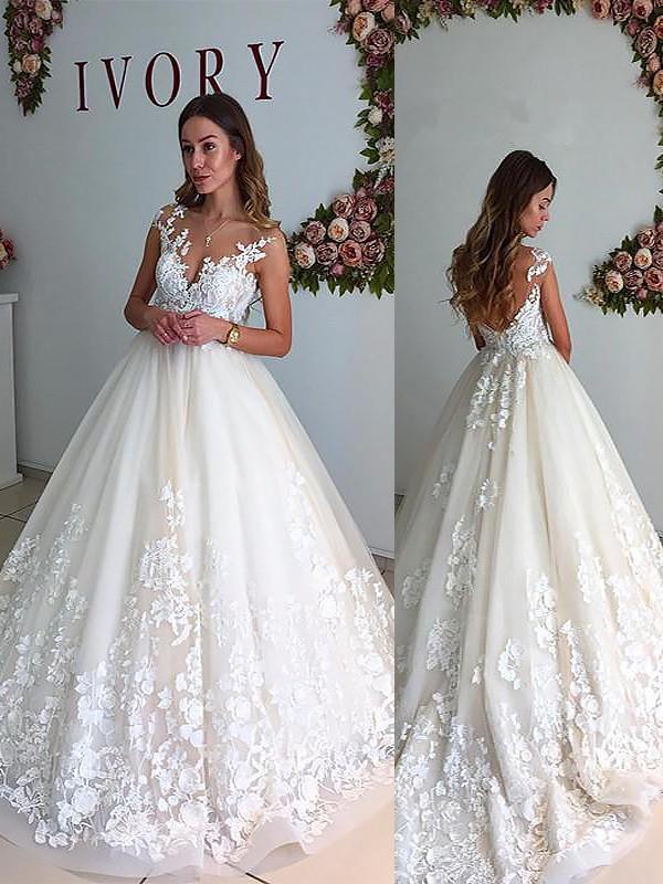 A-Line V-neck Court Train Ivory Wedding Dresses
