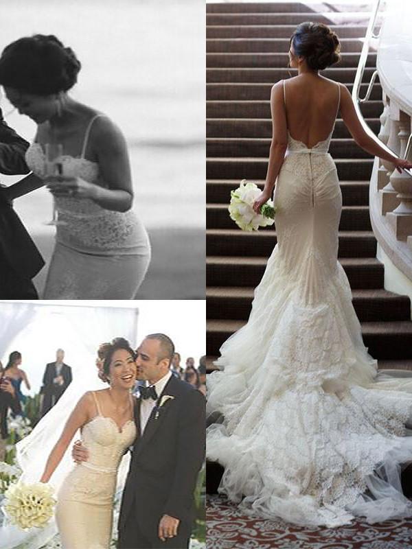 Tulle Spaghetti Straps Court Train Ivory Wedding Dresses