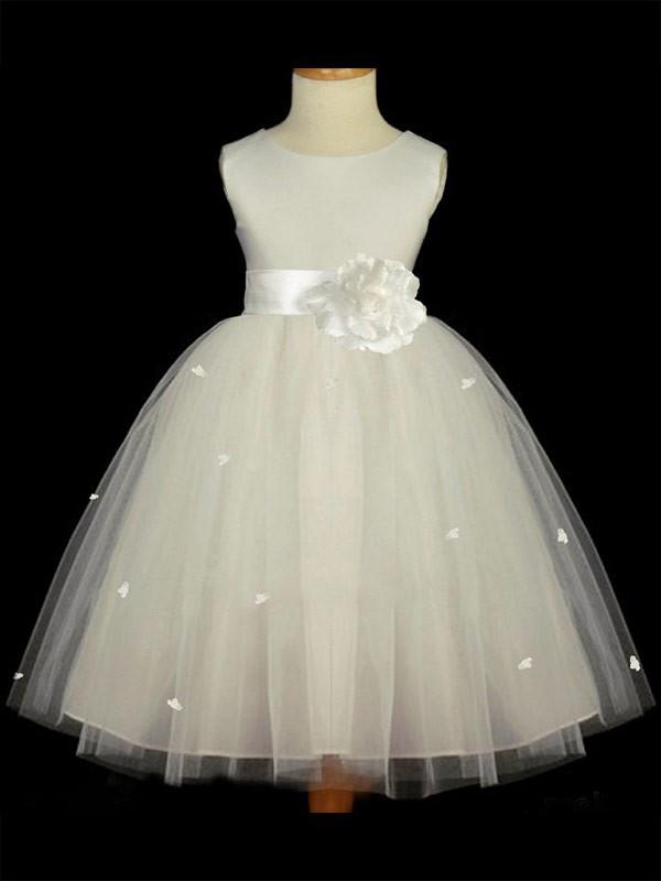 A-Line Scoop Ankle-Length White Flower Girl Dresses