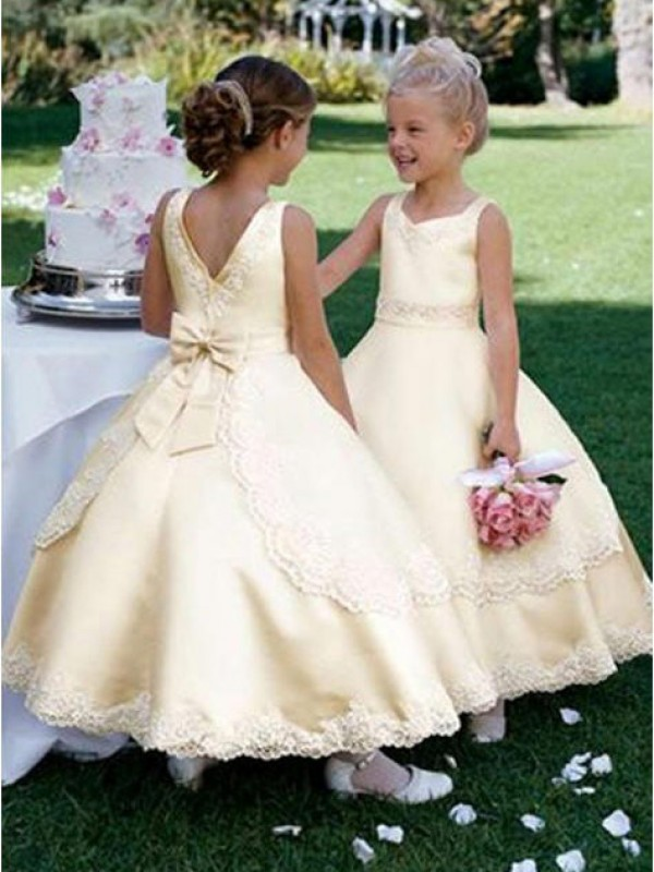Ball Gown Scoop Ankle-Length Champagne Flower Girl Dresses